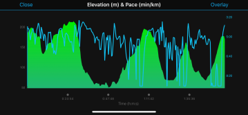 Elevation with Pace. You can see where I hiked